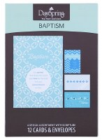 CARD BOXED, BAPTISM Blue Patte
