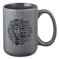 Mug - Be Strong Lion Gray Coff