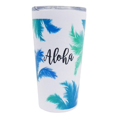 16oz Vacuum Insulated Cup Coconut Trees Ombre White