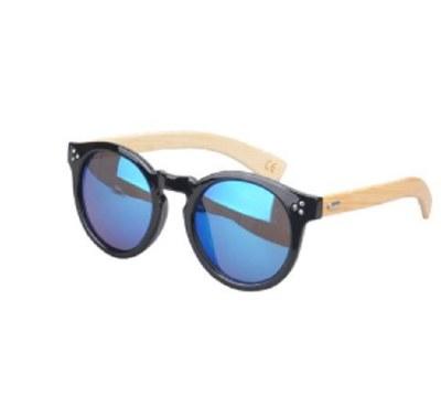 Sunglasses Bamboo Temple Mango Blue Mirror