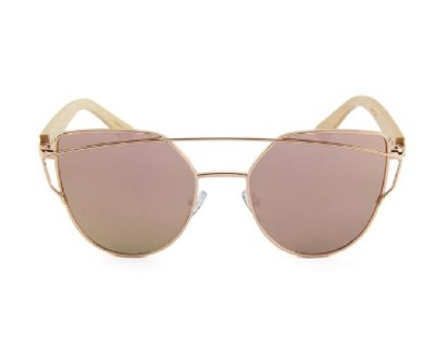 Sunglasses Bamboo Temple Olive Rose Gold
