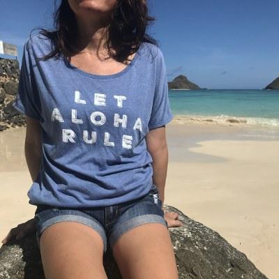 Aloha Rule Tee Blue Medium