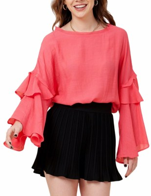 Flare Sleeve Top Coral SM