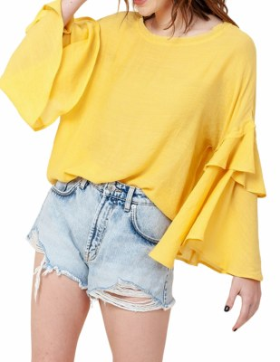 Flare Sleeve Top Yellow SM