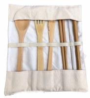 Bamboo Cutlery Travel Set Cream