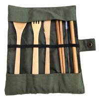 Bamboo Cutlery Travel Set Olive