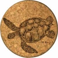 Cork Coaster Green Sea Turtle by Loyd