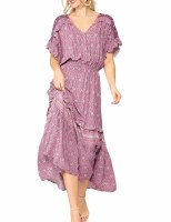 Dress Ruffle Midi Mauve Print
