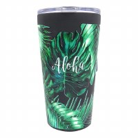 16oz Vacuum Insulated Cup Palm Leaves Black
