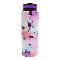 40oz Vacuum Insulated Flask Watercolor Flower Purple
