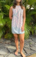 Kai Short Dress Monstera Grey Pink