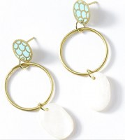 Fair Trade Earring Dhavala Teal Pearl Drop
