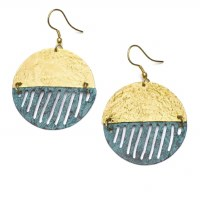 Fair Trade Earring Medallion Gold Teal