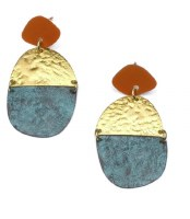 Fair Trade Earring Nihira Medallion Amber Teal