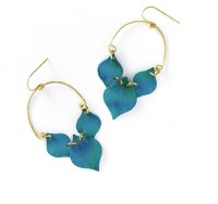 Fair Trade Earring Chameli Teal Leaf
