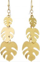 Earring Monstera Dangle Flat Gold