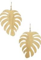 Earring Monstera Flat Matte Gold