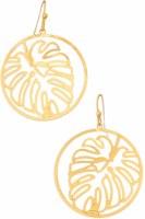 Earring Monstera Circle Gold