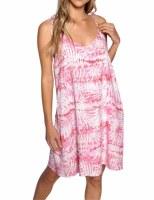 Pink Wht Palm Leaf Dress SM
