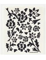 Swedish Dishcloth Black Flora