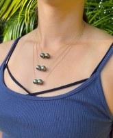 "Tahitian Double Pearl 20"" 14kt GF"