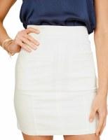 White Fitted Zip Back Skirt