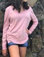 Fine Knit V-Neck Sweater Mauve