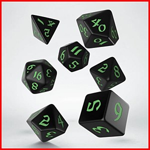 Q-Workshop Classic Runic Black & Green Dice Set (7)