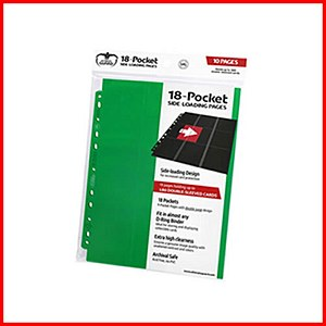 Ultimate Guard : 18-Pocket Pages Side Loading : Green (10)