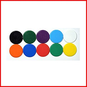 Plastic Counters : Plastic Discs : 22mm Diameter : Yellow : (40)