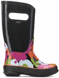 Rain Boot Spring Flowers Noir