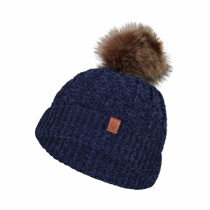 Tuque Tricot Peluche Pom Marin