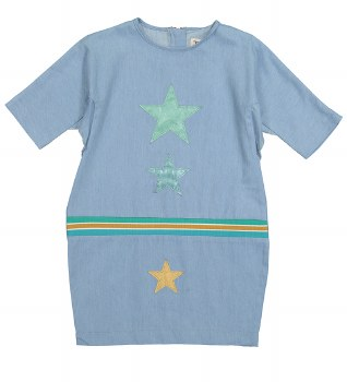 Denim Star Patch Dress Light 1