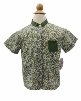 Boys S/S Printed Shirt Olive 4