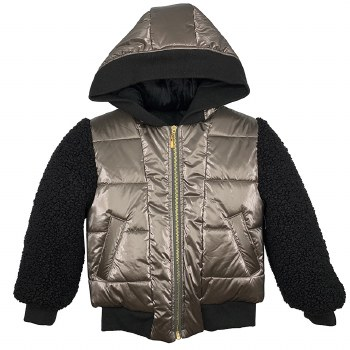 Coat W/ Sherpa Sleeves Bronze