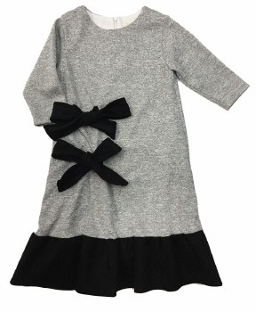Dress W/ Suede Bows Grey/Black