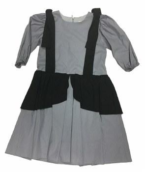 Dress W/ Shoulder Bow Grey/Bla