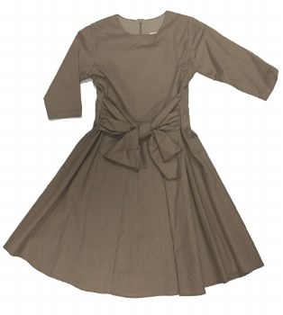 Dress W/ Front Tie Taupe 9