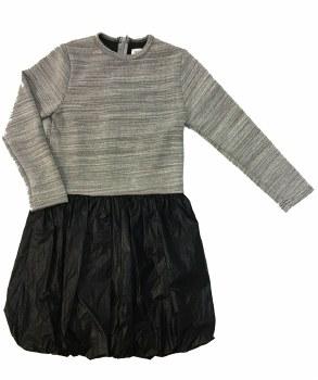 Metallic Bubble Dress Grey/Bla