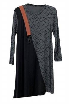 Ribbed Hearts Dress Grey/Black