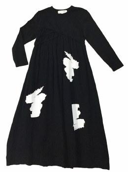 Cotton Brushstrokes Robe Black