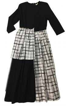 Checked Robe w/ Tulle Black/Wh