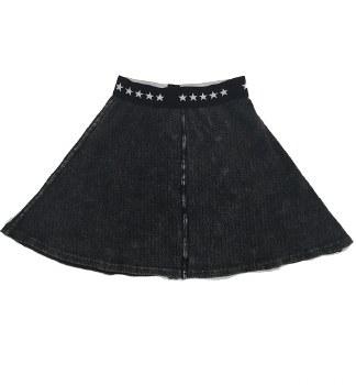 Ribbed Denim Skirt Grey 7