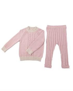 Contrast Knit Baby Set Mauve 3