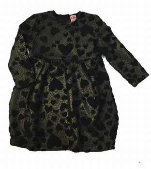 Lace Hearts Dress Black/Gold 2