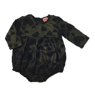 Lace Hearts Romper Black/Gold