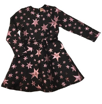 Metallic Stars Dress Black/Pin