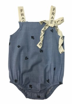 Fragile Denim Romper Blue 12M