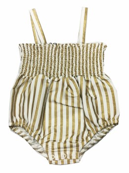 Gold Striped Romper Gold 6M