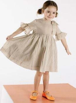 Dress W/ Gold Pinstripes Beige
